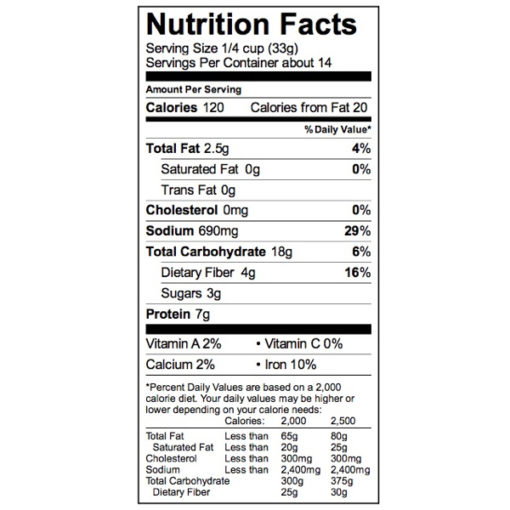 Indian Savory Batter Mix Nutrition Label